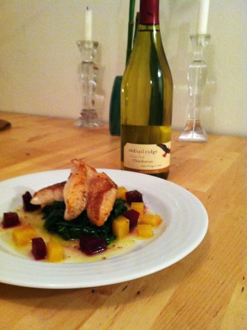 Perch, beets, spinach Red Tail Ridge Chardonnay