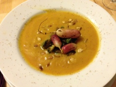 Squash soup with radishes