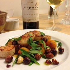 Scallops with hazelnuts
