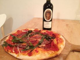 Trinkos sausage pizza with Barbera